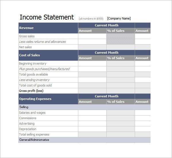 income statement template