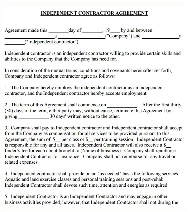 Training Agreement Contract Standard Independent Contractor