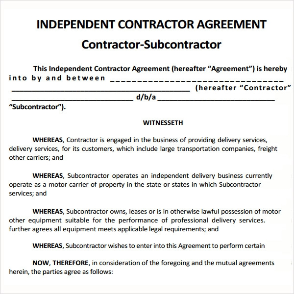 Independent Contractor Agreement Form Independent Subcontractor – Mutual Agreement Contract Template