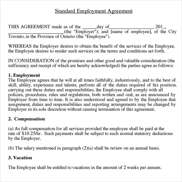 Sample Employment Agreement 5 Free Documents Download in PDF Doc – Severance Agreement Template