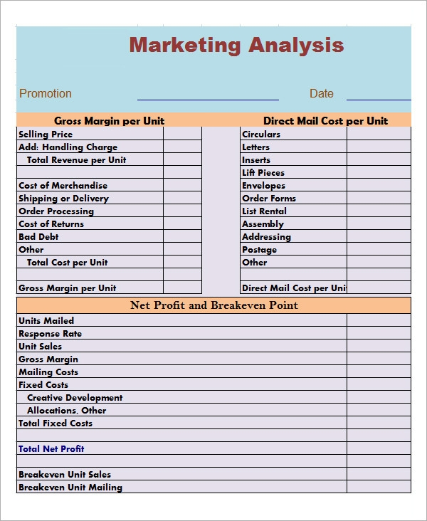 Market Analysis Template | Sample Templates