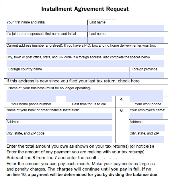 Installment agreement 5 free pdf download installment agreement form platinumwayz