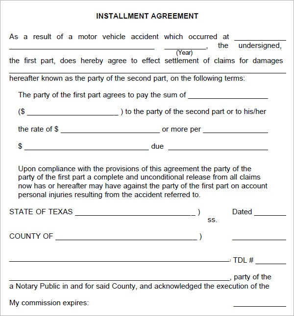 Installment Agreement 5 Free Pdf Download – Payment Agreement Template