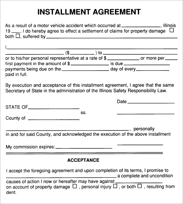 Installment Agreement   Free Pdf Download