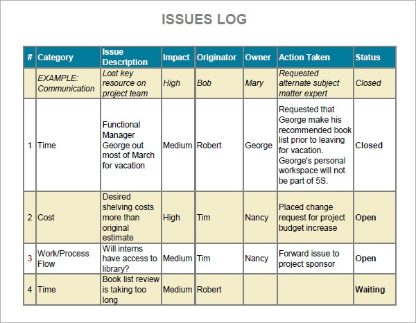 7 free issue log samples sample templates for Project management issues log template
