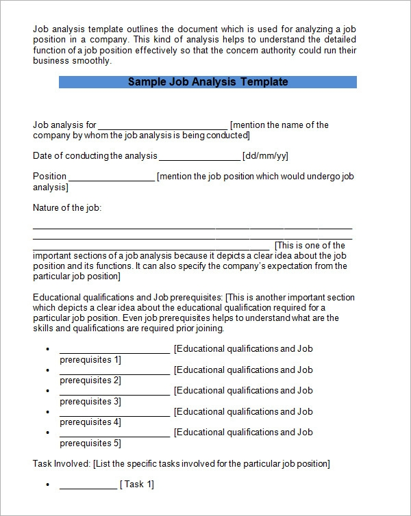 Sample Job Analysis  KakTakTk