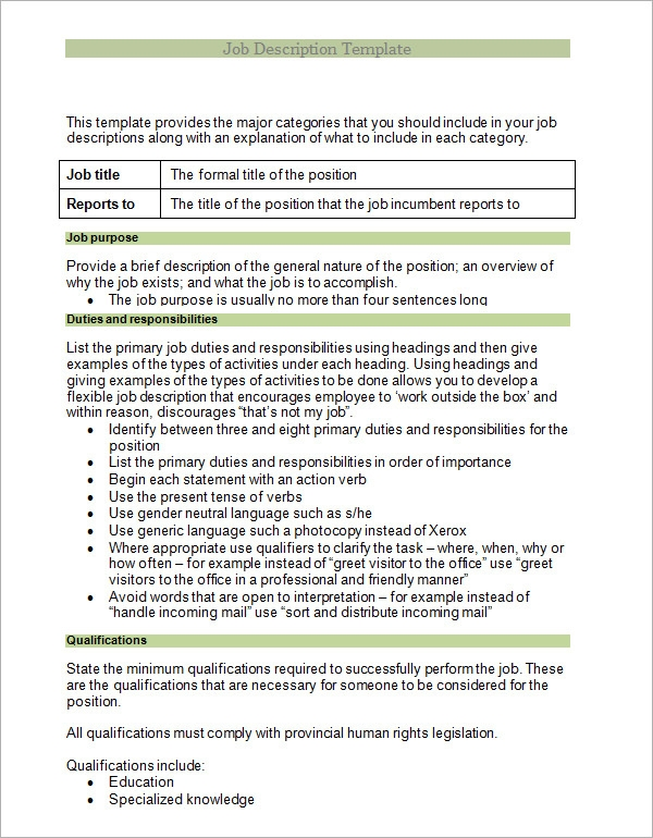 Job Analysis Samples