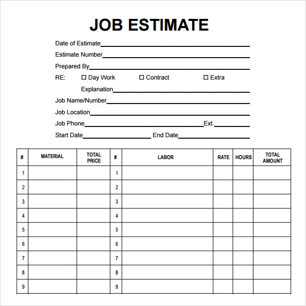 sample cost estimate template .