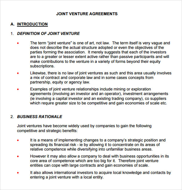 Sample Joint Venture 9 Free Documents in PDF Word – Joint Venture Agreements Sample