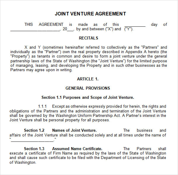 Sample Joint Venture 9 Free Documents in PDF Word – Free Joint Venture Agreement Template