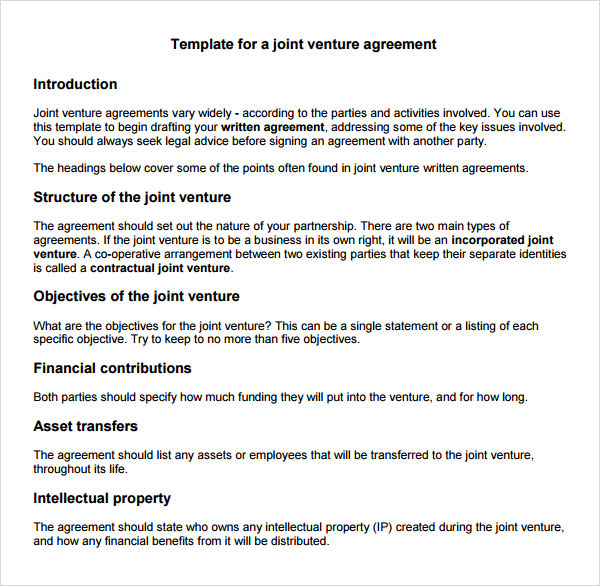 Doc600590 Free Joint Venture Agreement Sample Joint Venture 9 – Sample Joint Venture Agreement