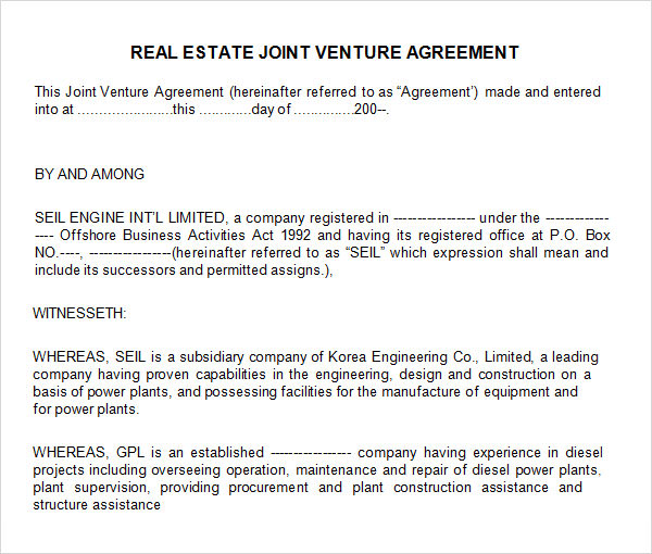 Sample Joint Venture 9 Free Documents in PDF Word – Sample Joint Venture Agreement