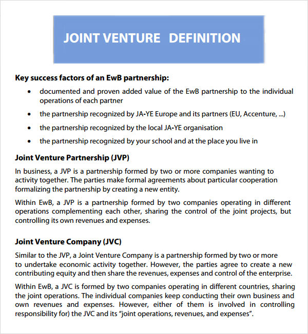 Sample Joint Venture 9 Free Documents in PDF Word – Joint Venture Sample