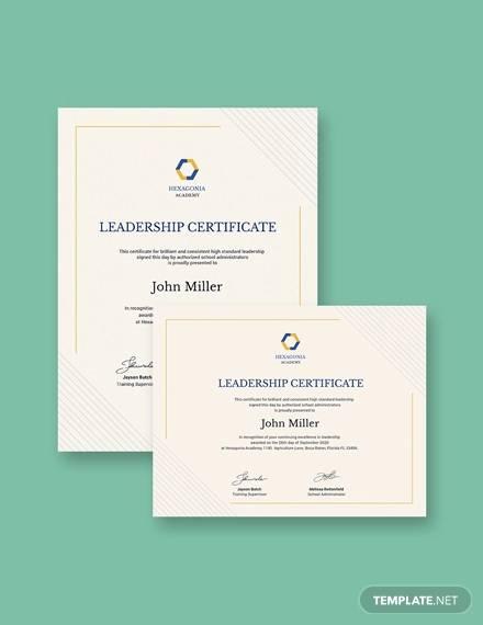leadership award certificate