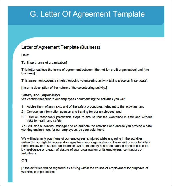 letter of agreement example