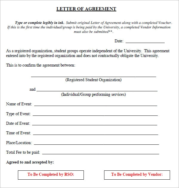 Letter Of Agreement Form  Agreement Templates