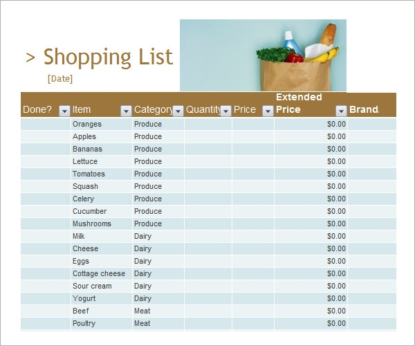Sample Shopping List Template 7 Free Documents Download in PDF – Shopping List Format
