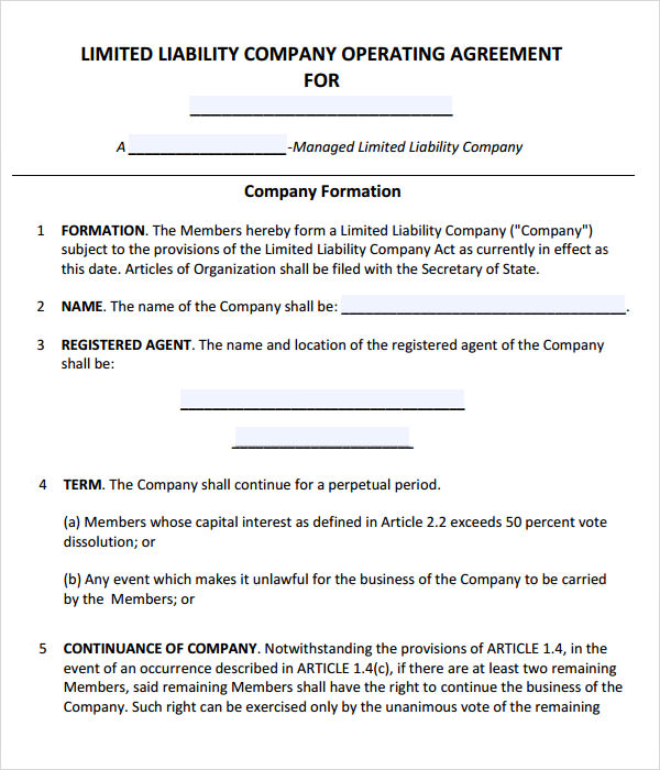 LLC Operating Agreement Template  Free Business Agreement Template
