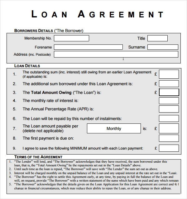 Sample Loan Agreement 6 Free Documents Download in PDF Word – Loan Template Agreement