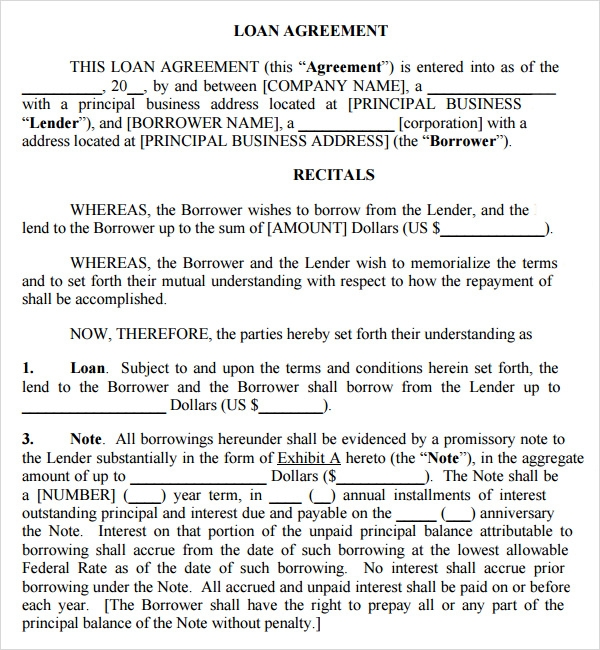 free loan contract template .