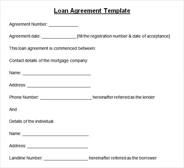 Sample Loan Agreement 6 Free Documents Download in PDF Word – Company Loan Agreement Template