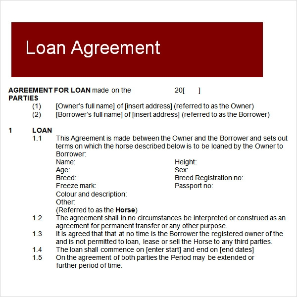 Sample Loan Agreement 6 Free Documents Download in PDF Word – Loan Forms Template