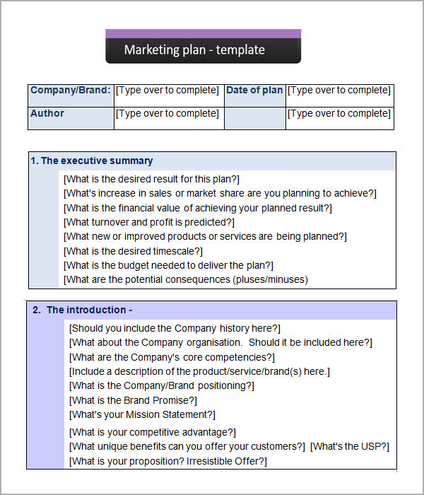 Sample marketing plan template marketing strategy templates sample templates maxwellsz