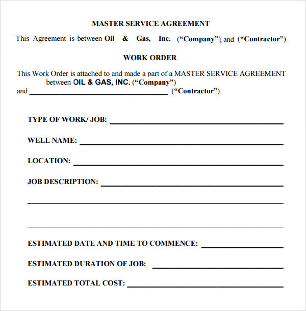 Master Service Agreement Oil And Gas  Contractor Agreement Template Word