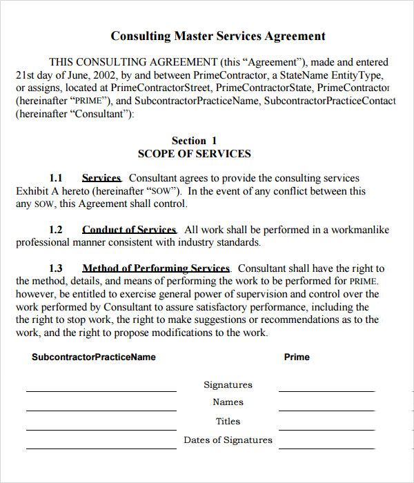 15 sample master service agreement templates sample for Consulting contracts templates