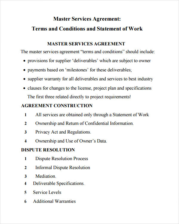 Master Service Agreement   Download Free Documents In Pdf Word