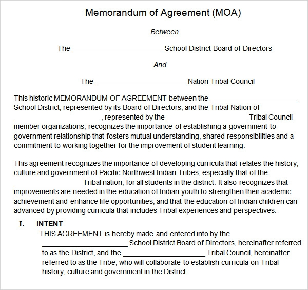 Memorandum Of Agreement   Free Pdf  Doc Download