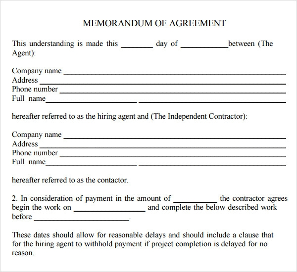 Memorandum Of Agreement Download  Contract Sample Between Two Parties