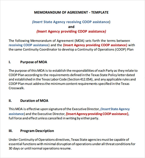 Memorandum Of Agreement PDF