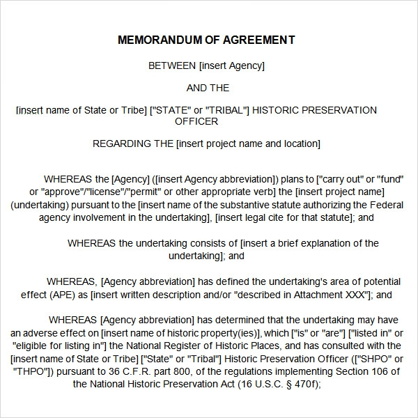 Memorandum Of Agreement Sample Format Heartpulsar
