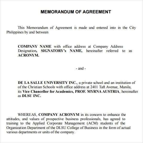 Memorandum of Agreement 9 Free PDF DOC Download – Sample Agreements Between Two Parties