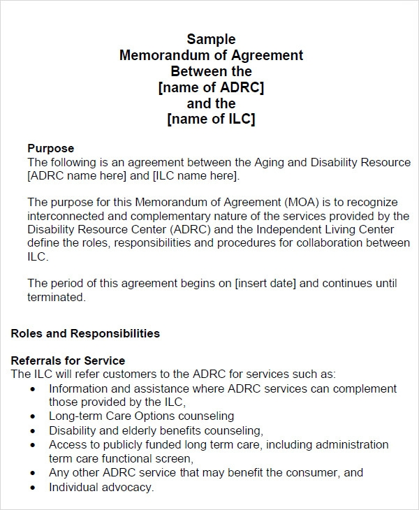 memorandum of agreement sample