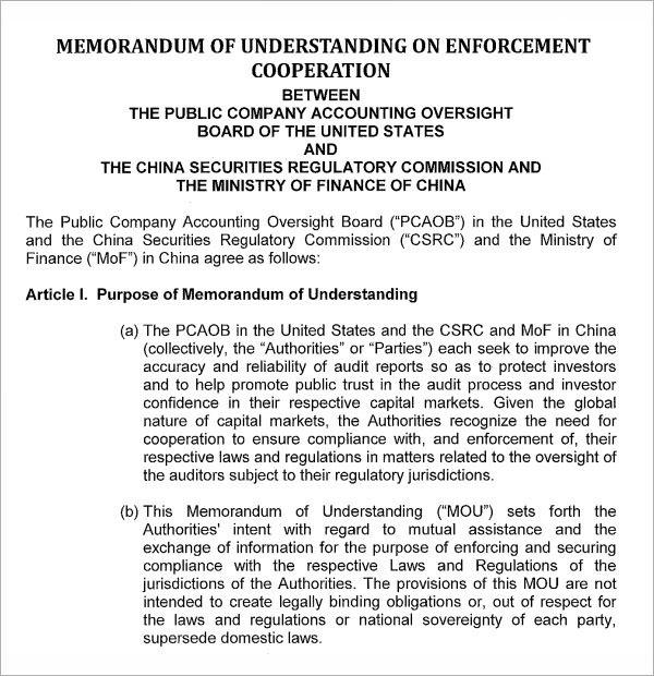 Memorandum of Understanding Template 9 Download Free Documents In