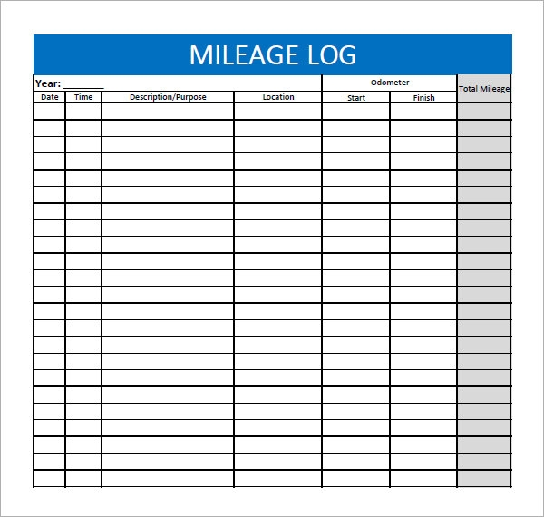 Shocking image for printable mileage log
