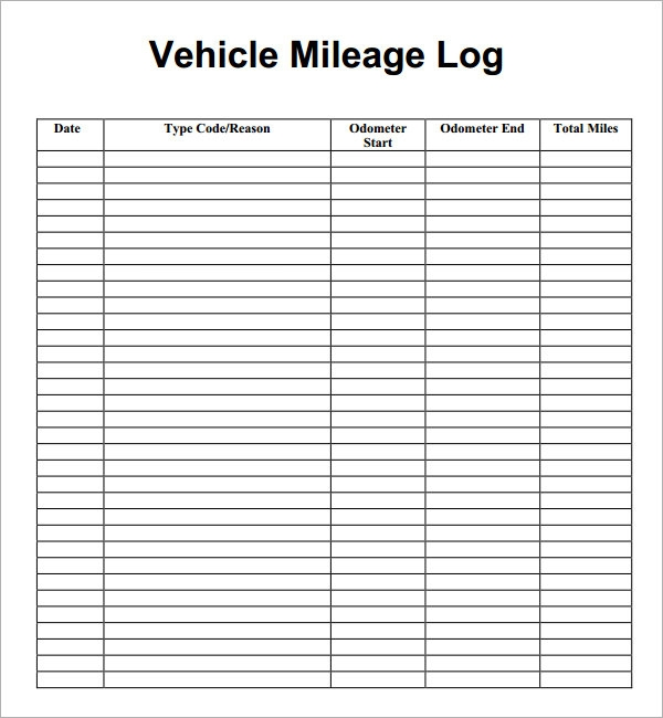 Mileage Log Template