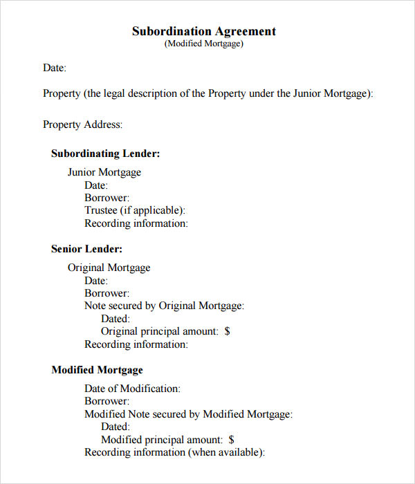 Mortgage Subordination Agreement Template  Mortgage Agreement Form