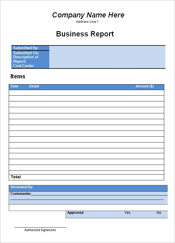 Company Report Template Format Of A Business Report Printable