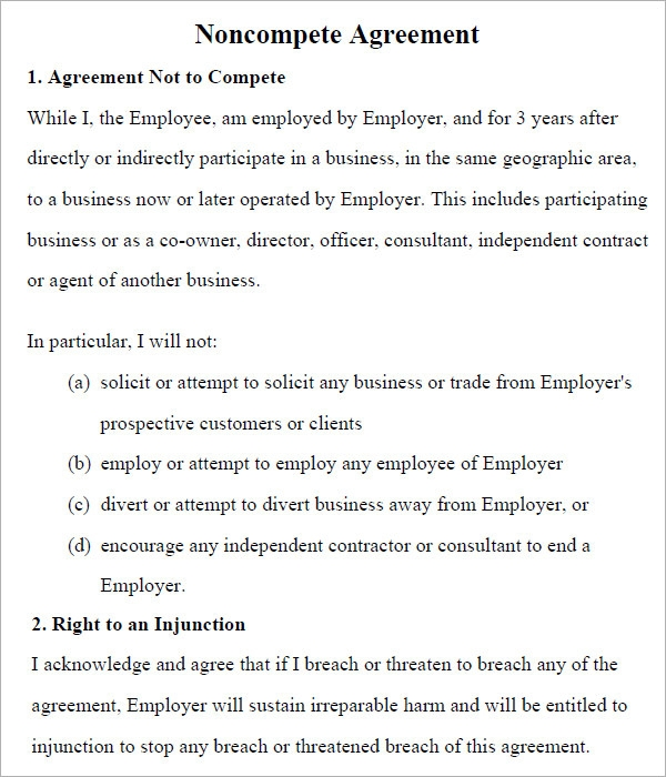 non compete agreement form