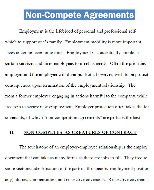 Non Compete Agreement   Free Pdf  Doc Download