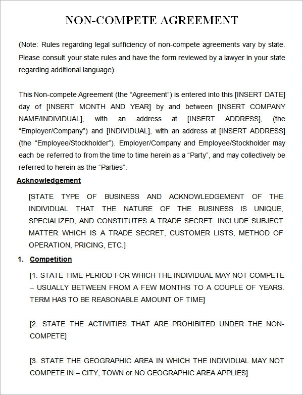 Word Non Compete Agreement Business Noncompete Agreement Vendor