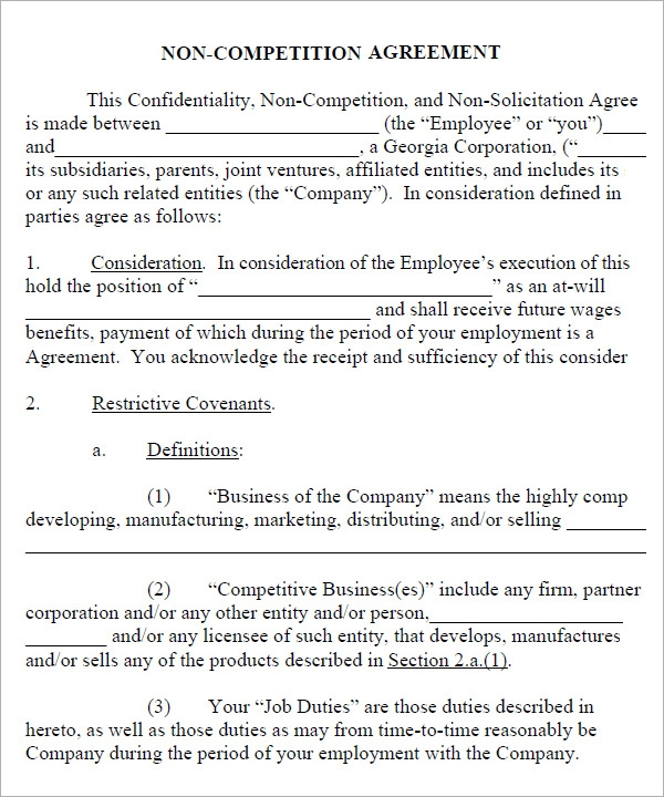 Non Compete Agreement - 7+ Free Pdf , Doc Download