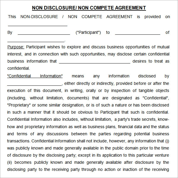 7 sample non compete agreement templates to download for Free non disclosure agreement template