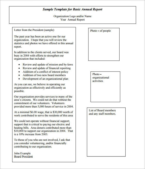 Annual Report Template 9 Download Documents in PDF