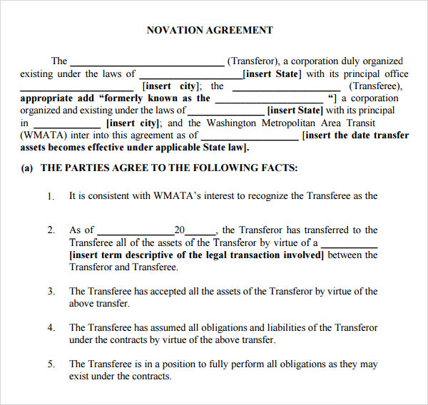 novation agreement contract