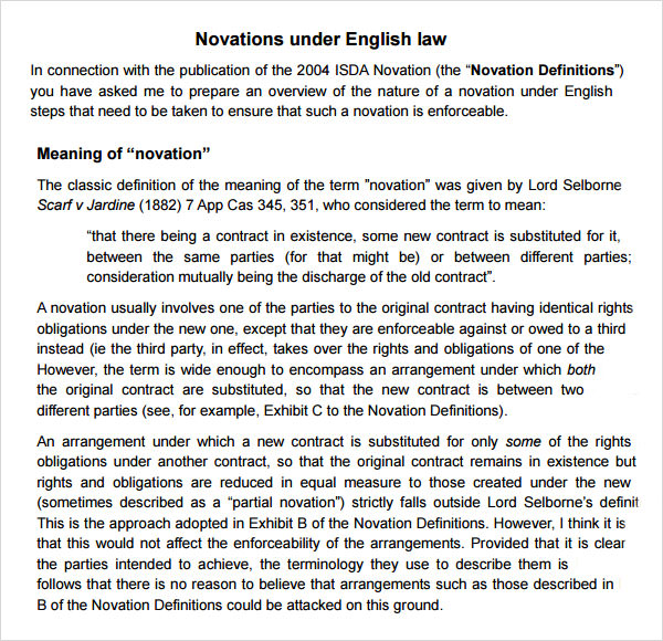 novation under english law