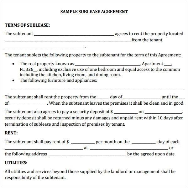 sublet agreement format